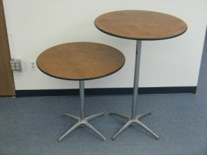 30 inch round table at 42 inch and 30 inch height