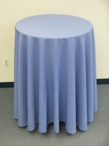 30 inch table at 42 inch height with 108 inch table cover