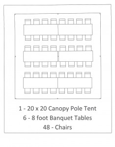 20x20 canopy pole tent 8 foot table seating