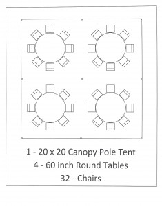 20x20 canopy pole tent 60 inch table seating