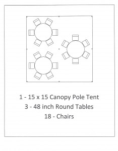 15x15 canopy pole tent with 6 foot table seating