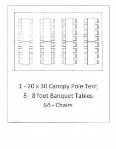 20x30 canopy pole tent with 8 foot table seating