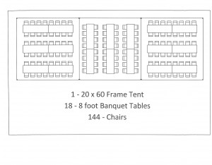 20x60 frame tent 8 foot table seating graduation party plymouth mi
