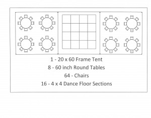 20x60 frame tent 60 inch table seating wedding canton mi