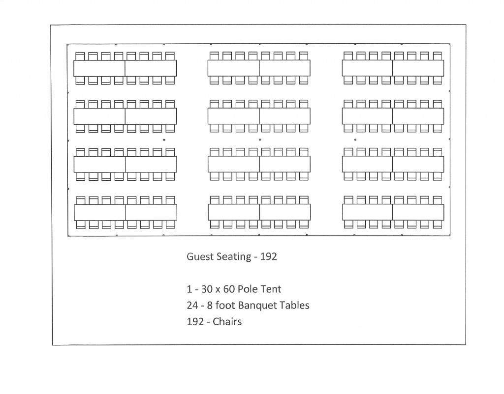 30 x 60 pole tent seating arrangment