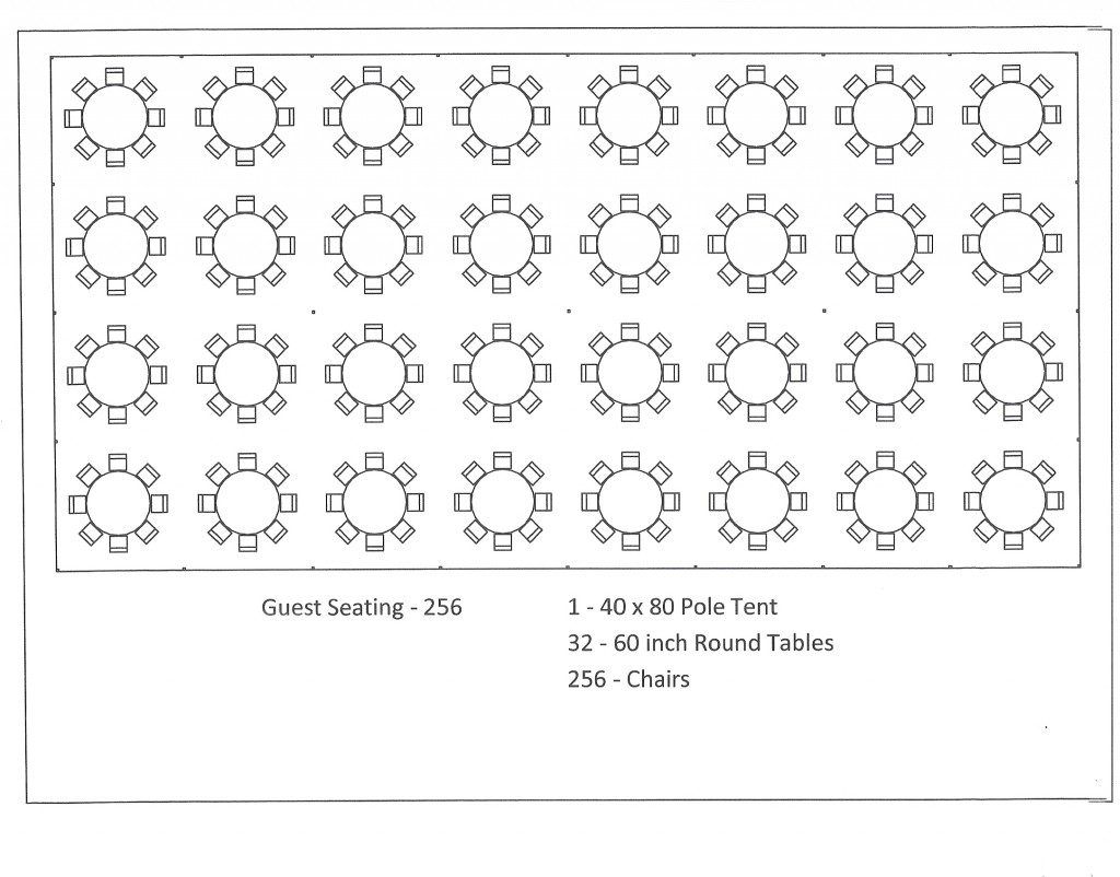 40x80 pole tent round table seating