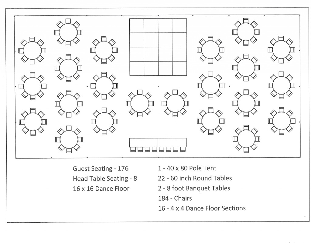 40x80 pole tent round table dance floor seating