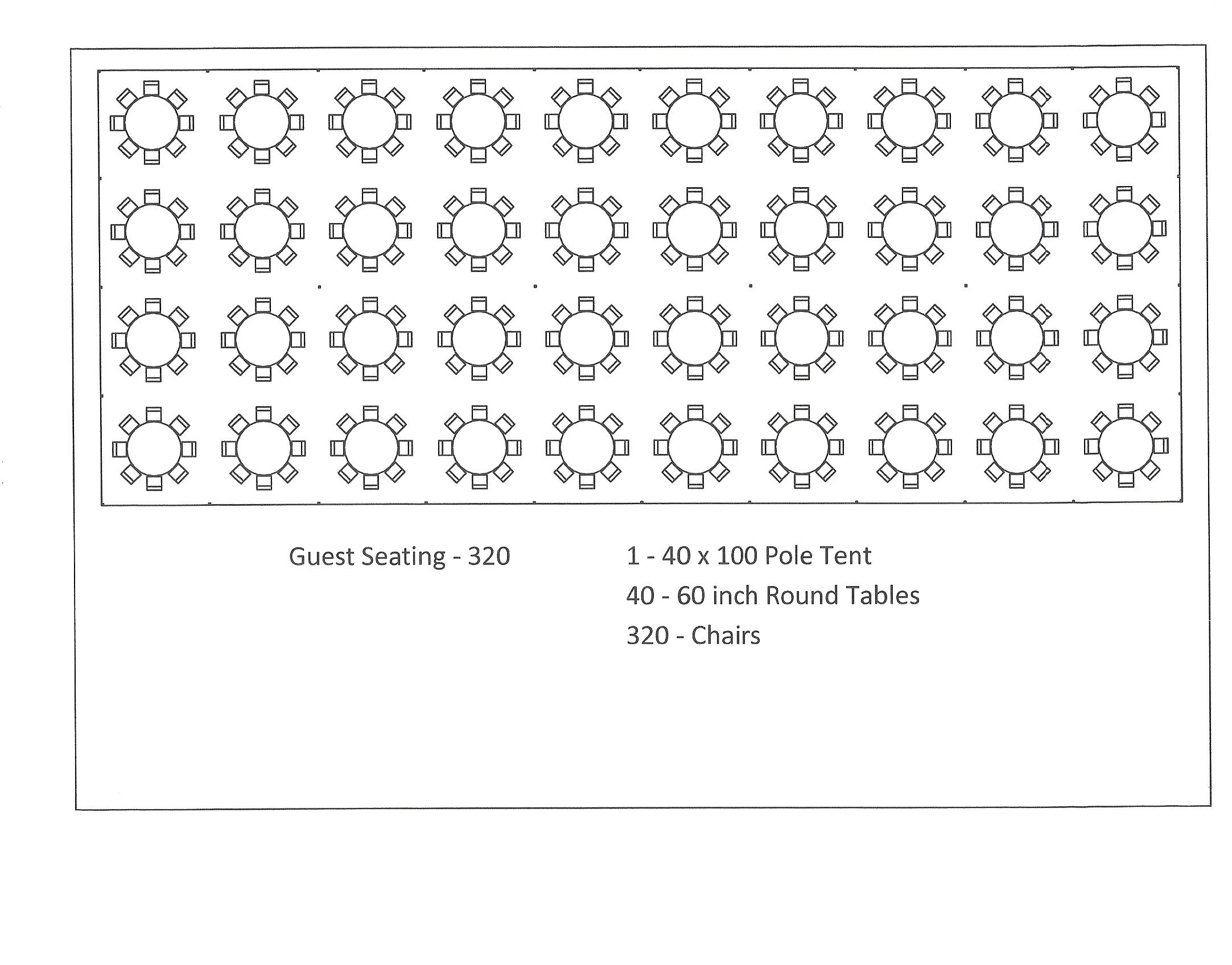 40 X 100 Pole Tent Seating Arrangement