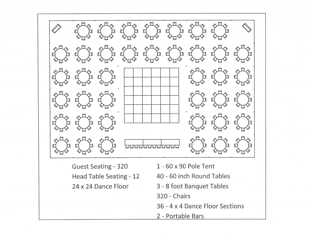 60x90 pole tent round table dance floor seating