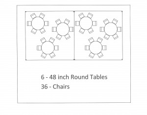 15x30 frame tent round table seating