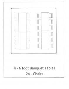 15x15 frame tent banquet table seating