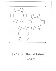 15x15 frame tent round table seating