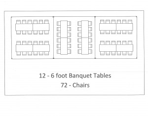 15x45 frame tent banquet table seating