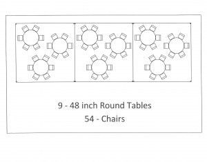 15x45 frame tent round table seating