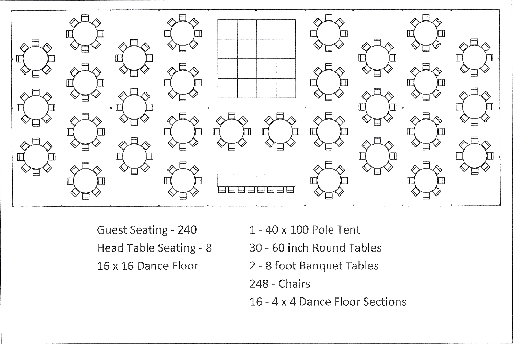 40x100 Pole Tent Round Tables Dance Floor Seating
